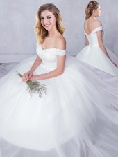 Dramatic Off the Shoulder Floor Length White Wedding Dress Tulle Sleeveless Bowknot