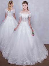 Low Price See Through White Wedding Gown Wedding Party and For with Lace Scoop Short Sleeves Lace Up