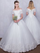 Superior Off the Shoulder Short Sleeves Floor Length Lace Up Wedding Gown White and In for Wedding Party with Lace