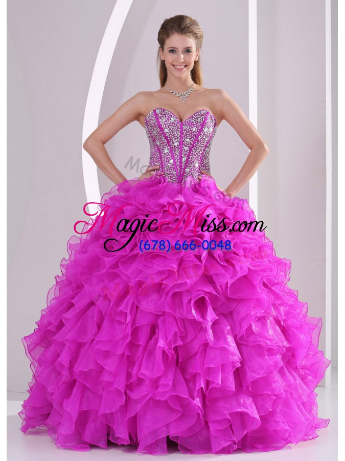 wholesale unique ruffles and beading sweetheart floor-length quinceanera gowns for 2014 summer