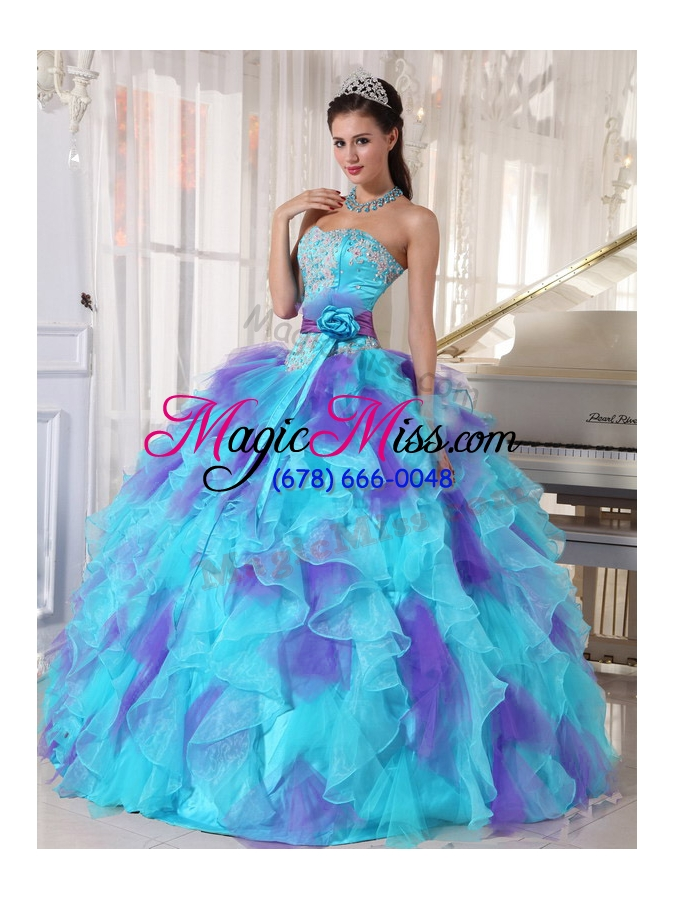 wholesale 2014 aqua and purple organza appliques decorate quinceanera dress