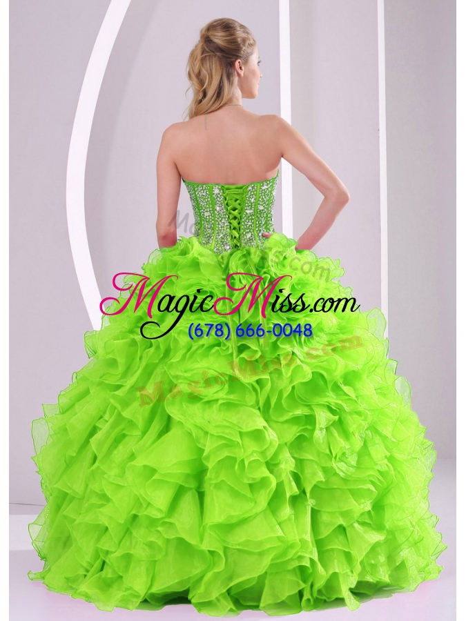 wholesale beading ball gown sweetheart green quinceanera gowns for 2014