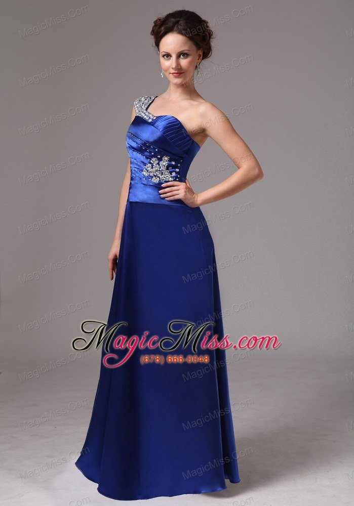 Royal Blue Beaded One Shoulder Ruch Evening / Prom Dress For Custom ...
