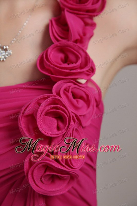 Whole Hot Pink Empire One Shoulder Knee Length Chiffon Hand Flowers Bridesmaid Dress