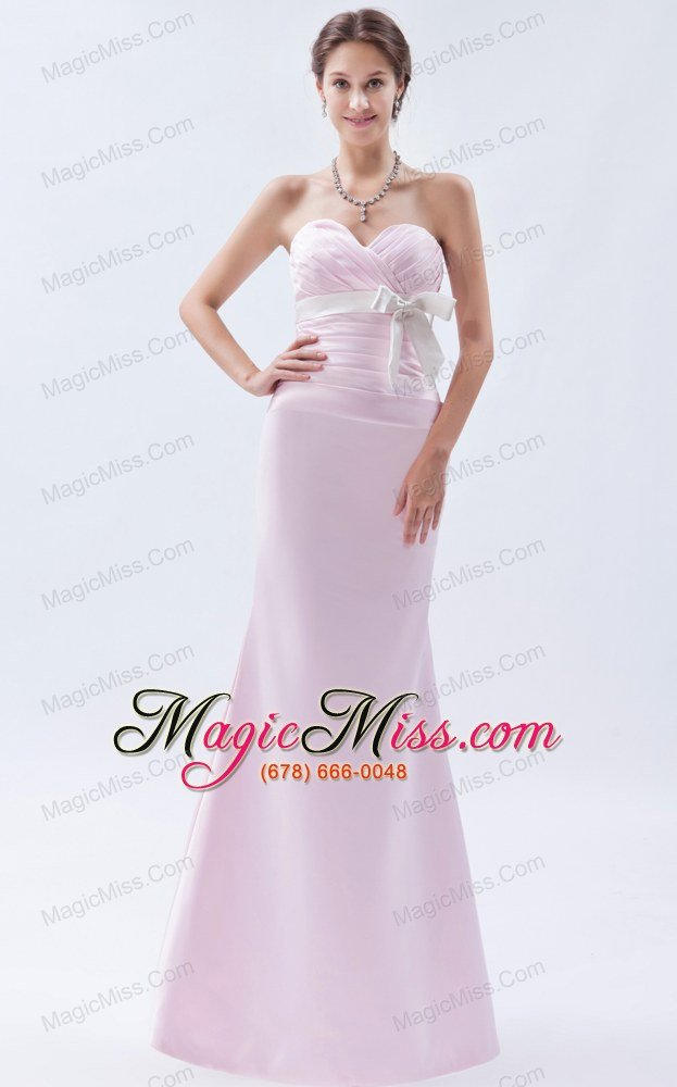 Baby Pink Mermaid Sweetheart Floor-length Satin Bow Prom Dress - US ...
