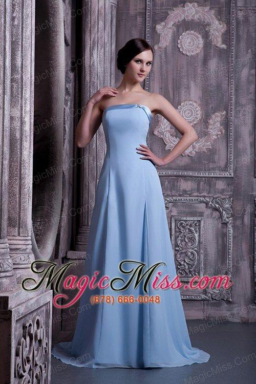 Blue Satin Bridesmaid Dress