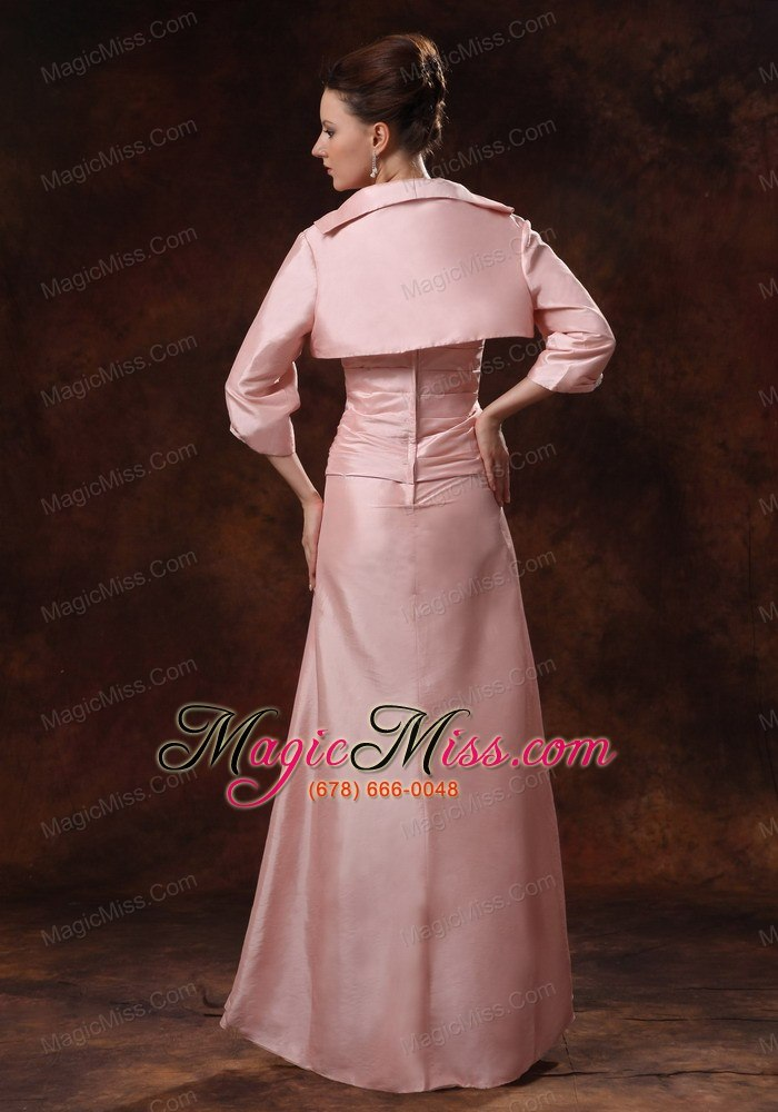 Baby Pink Ruch And Appliques Mother Of The Bride Dress