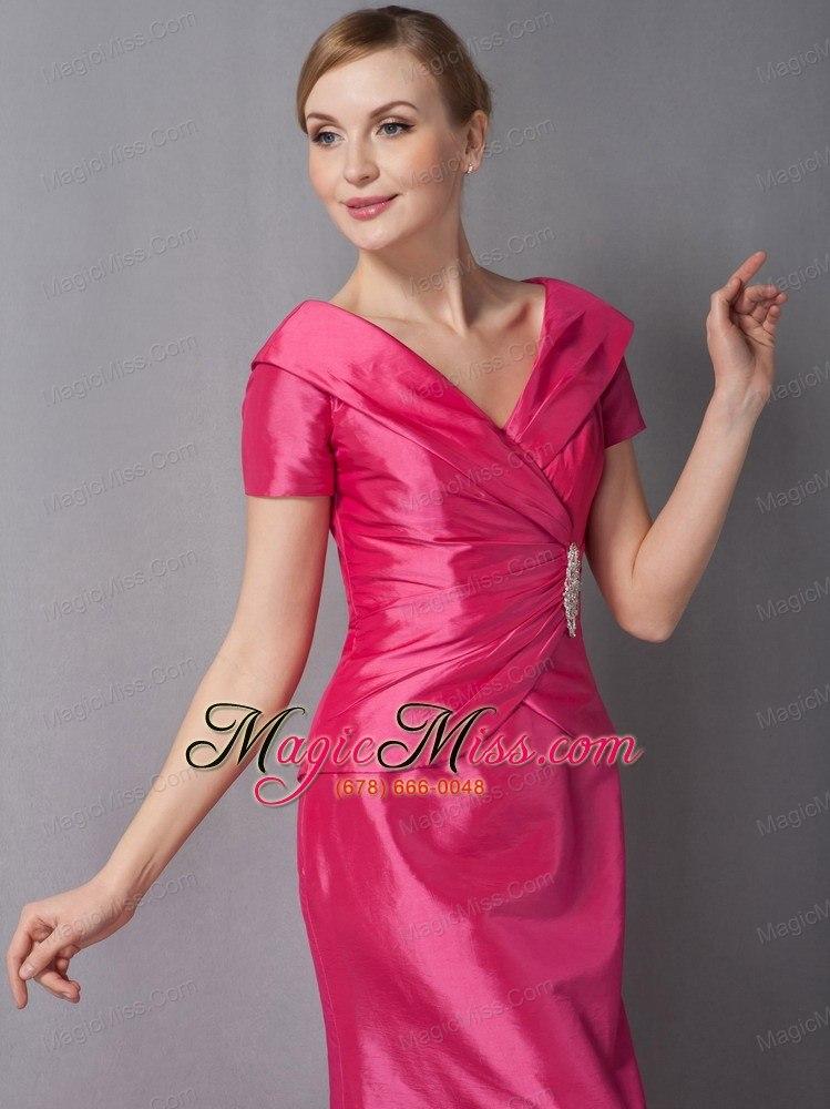 Hot Pink Column V-neck Ankle-length Taffeta Ruch Mother Of ...