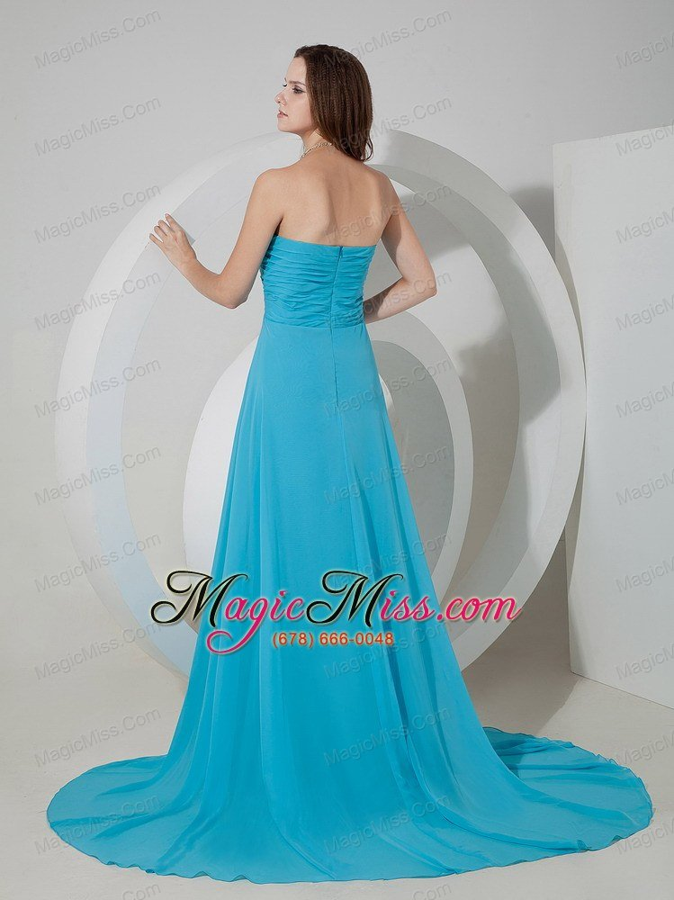 wholesale aqua blue empire sweetheart brush train chiffon ruch prom dress