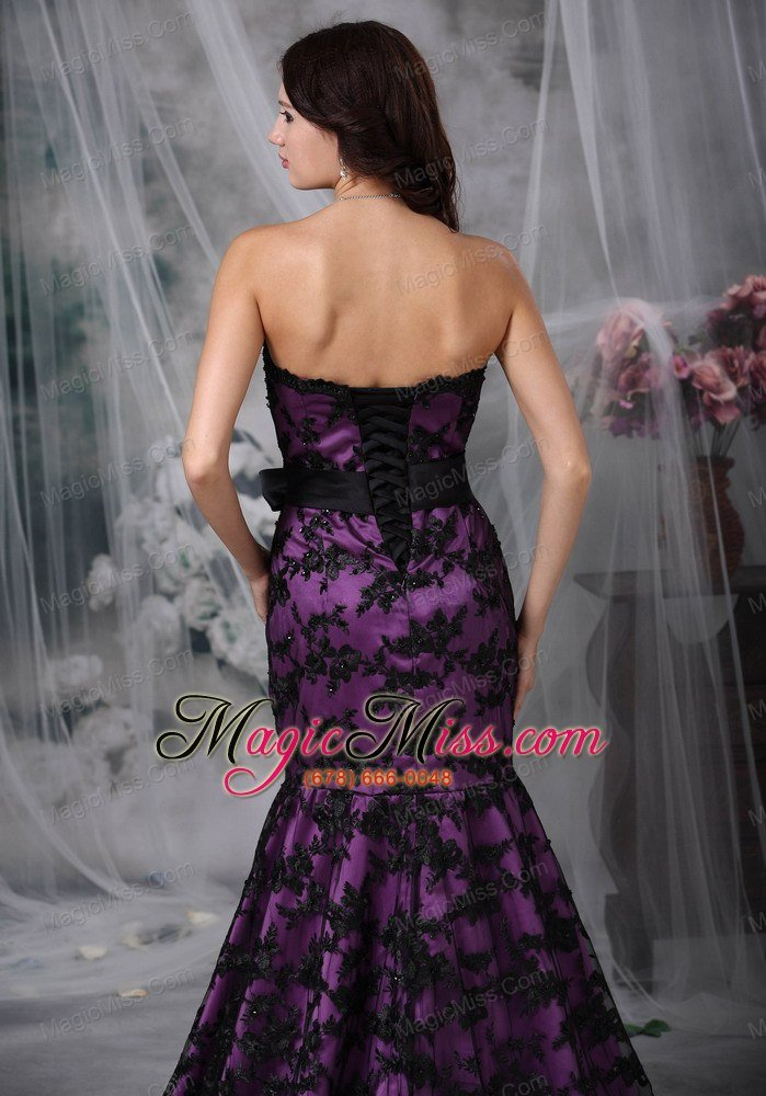 wholesale black and purple mermaid strapless court train sash taffeta and lace prom dress