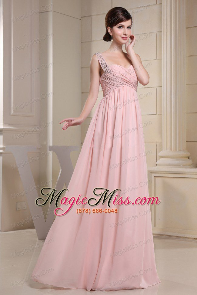 Beaded Decprate One Shoulder and Ruched Bodice For Baby Pink Prom ...