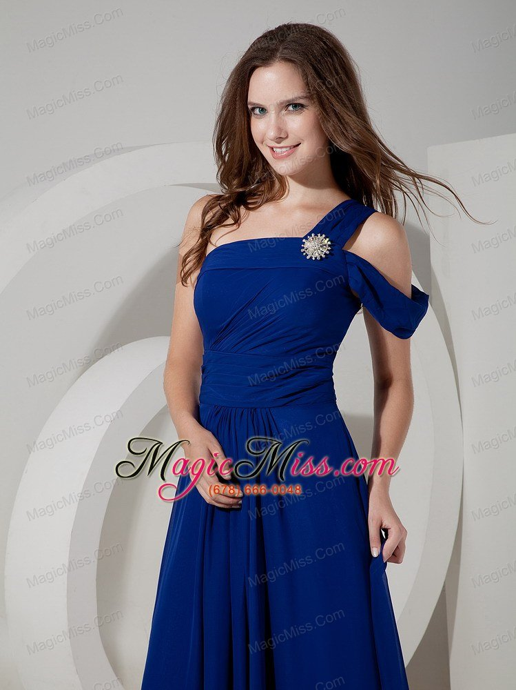 wholesale blue empire one shoulder floor-length chiffon ruch prom dress