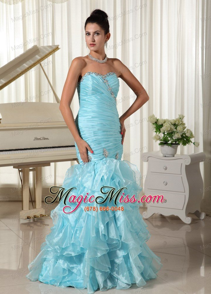 wholesale ruched bodice and ruffles 2013 mermaid baby blue prom dress sweetheart