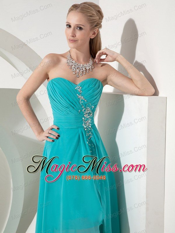 Cheap Turquoise High Low Prom Dress Turquoise Column Sweetheart High Low Chiffon Beading Prom