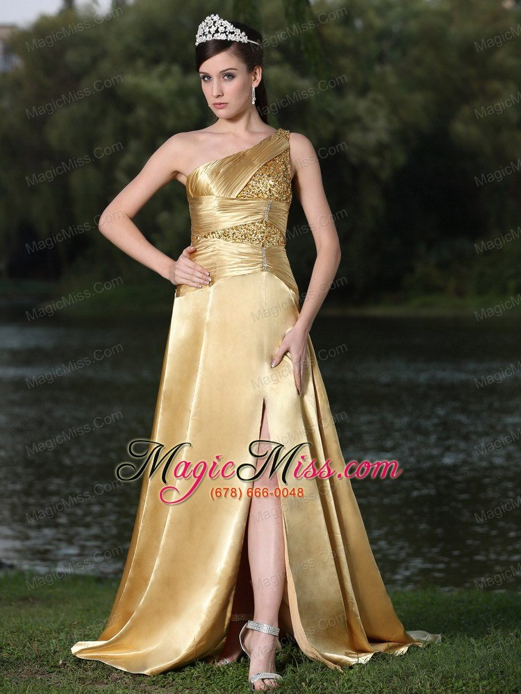 High Slit Gold Plus Size Prom Dress In Formal Party With One ...