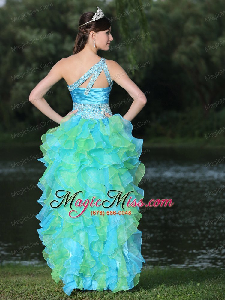 High-low Multi-color Prom Dress In Graduation Party With Ruffles One ...