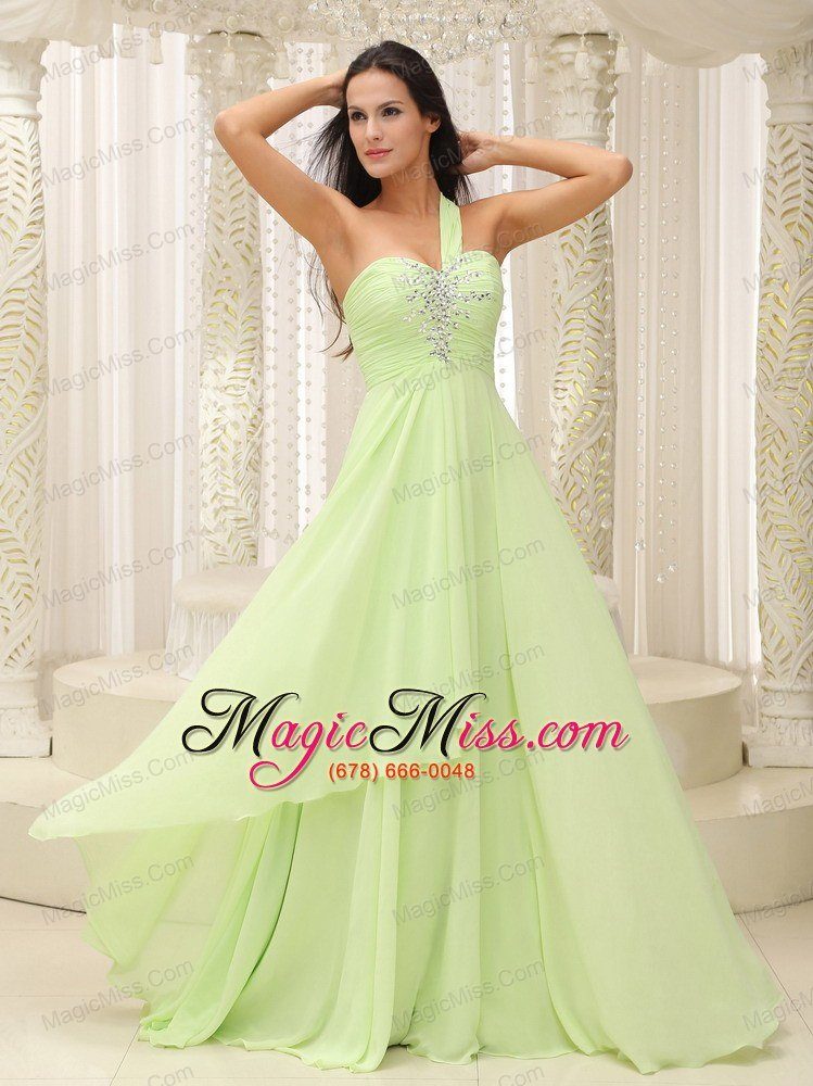 Yellow Green One Shoulder and Ruched Bodice Beaded ...