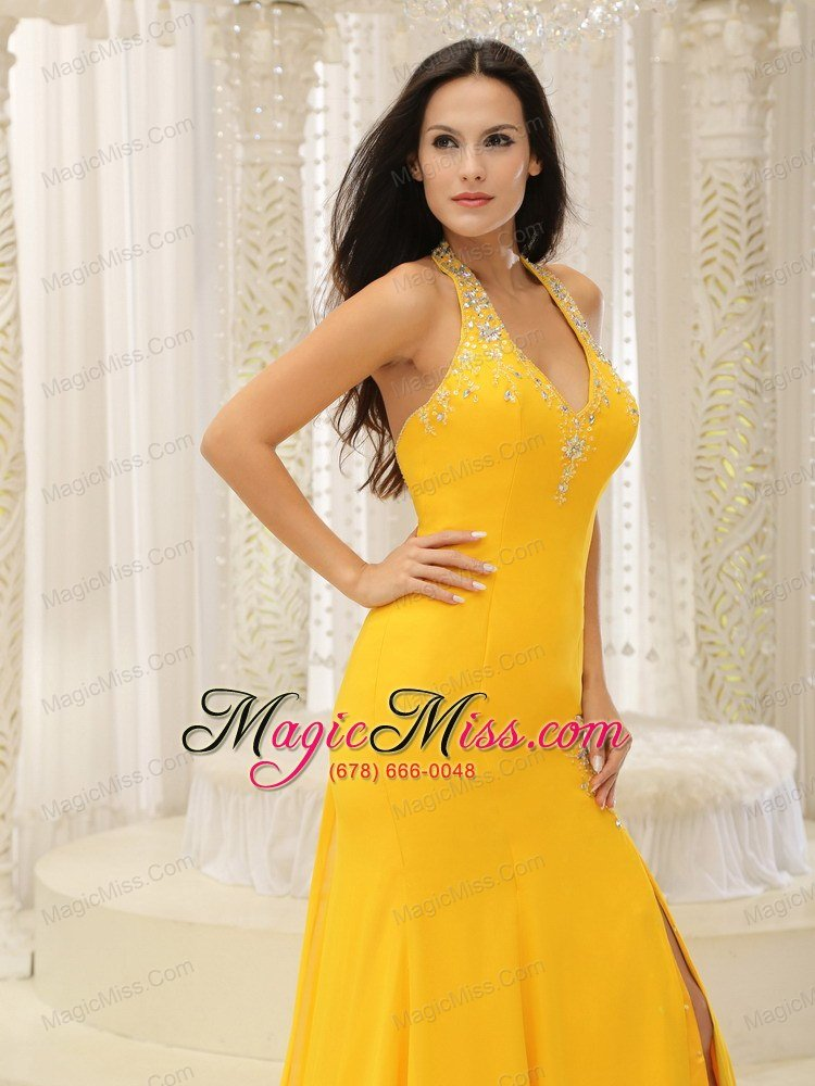 High Slit Halter Top Yellow Brush Train Prom Dress Chiffon In ...