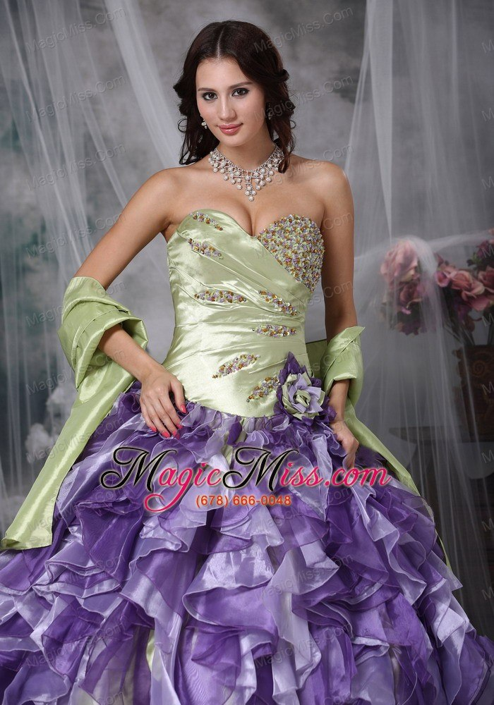 wholesale colorful ball gown sweetheart floor-length taffeta and organza beading and ruffles quinceanea dress