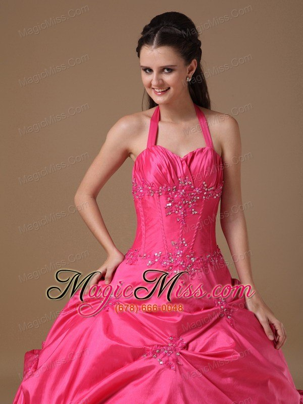 wholesale coral red ball gown halter floor-length taffeta beading quinceanera dress