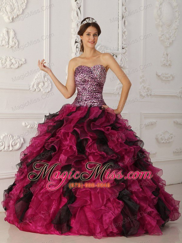 8e73899d1be wholesale multi-color ball gown sweetheart floor-length leopard and organza  ruffles quinceanera dress ...