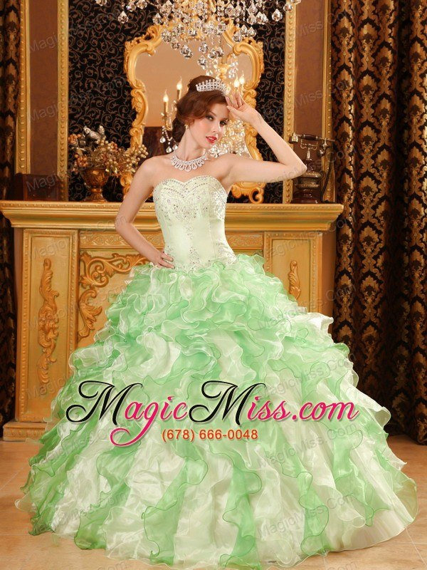 42c2e7091cd wholesale apple green ball gown sweetheart floor-length organza beading and ruffles  quinceanera dress ...