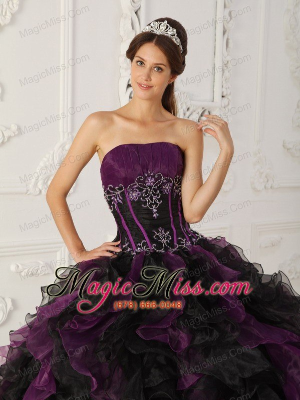 851c05c13ee ... wholesale purple and black ball gown strapless floor-length taffeta and organza  beading quinceanera dress ...