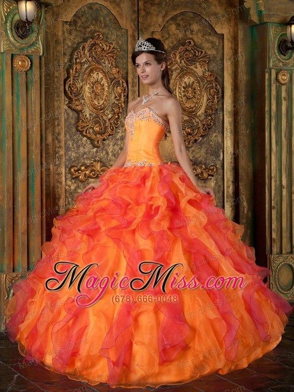 680b7a10b7 wholesale orange a-line   princess sweetheart floor-length ruffles organza  quinceanera dress ...