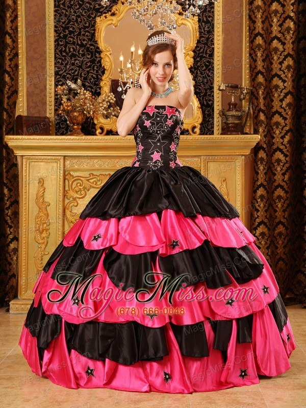 1c0cf4f5cd7 wholesale black and red ball gown strapless floor-length taffeta beading  quinceanera dress ...