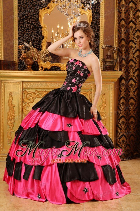 f0d29d9f6ce ... wholesale black and red ball gown strapless floor-length taffeta  beading quinceanera dress ...