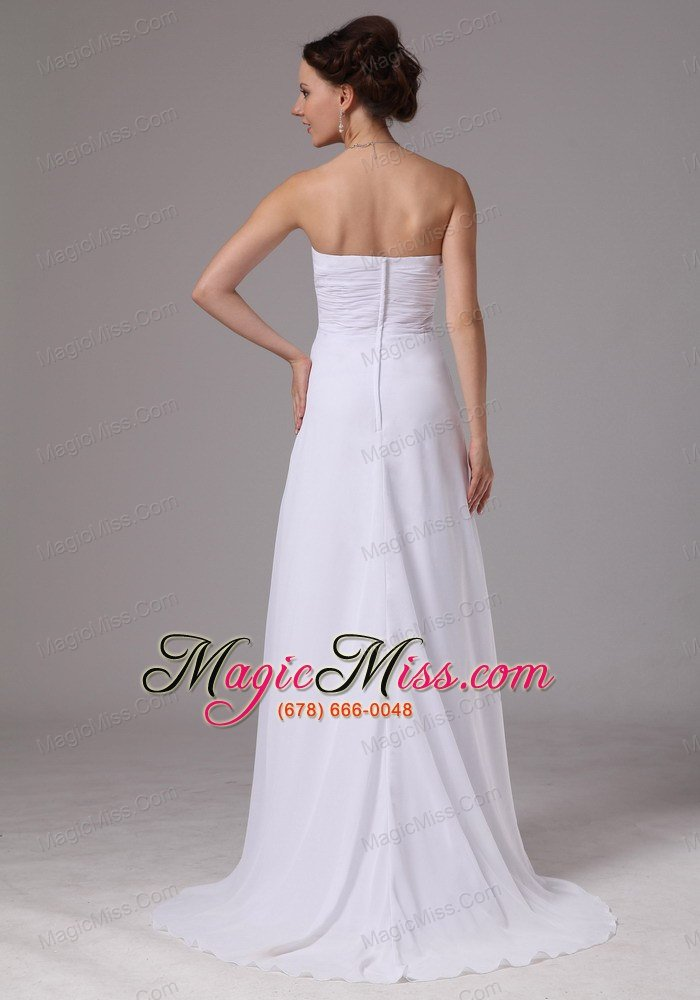 wholesale simple sweetheart empire wedding dress with brush train chiffon in doraville georgia