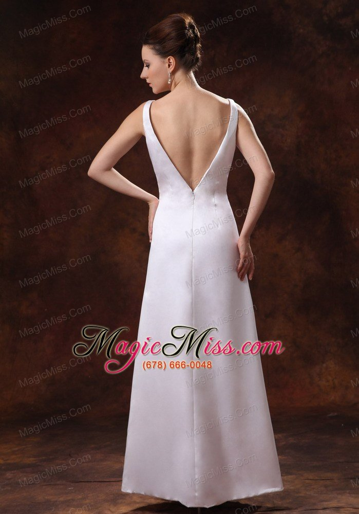 wholesale v-neck ankle-length satin mother of the bride dress for custom made in douglasville georgia