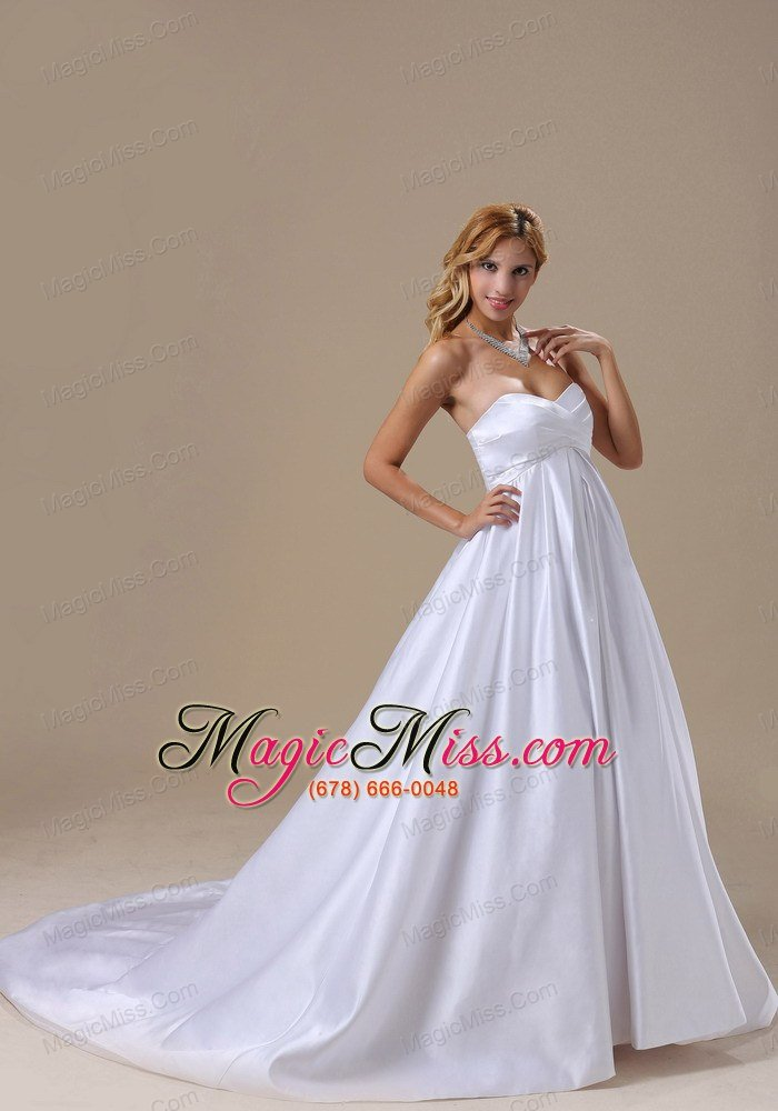 wholesale a-line wedding dress with satin sweetheart brush train