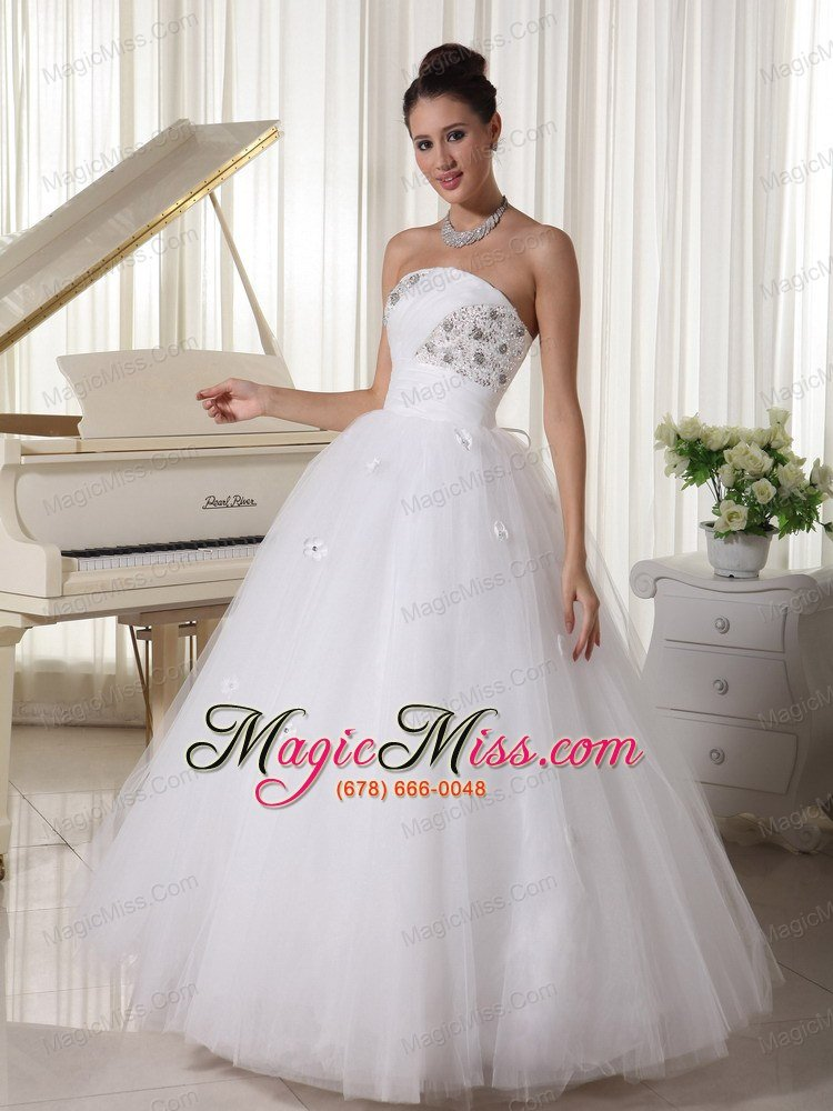 Tulle beaded bust and hand made flowers wedding dress with for Hand beaded wedding dresses