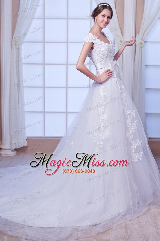 wholesale new a-line / princess square chapel train tulle embroidery wedding dress