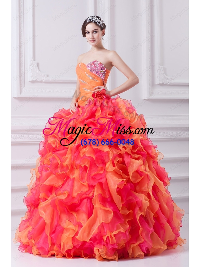 wholesale beautiful multi-color sweetheart beading and ruching quinceanera dress