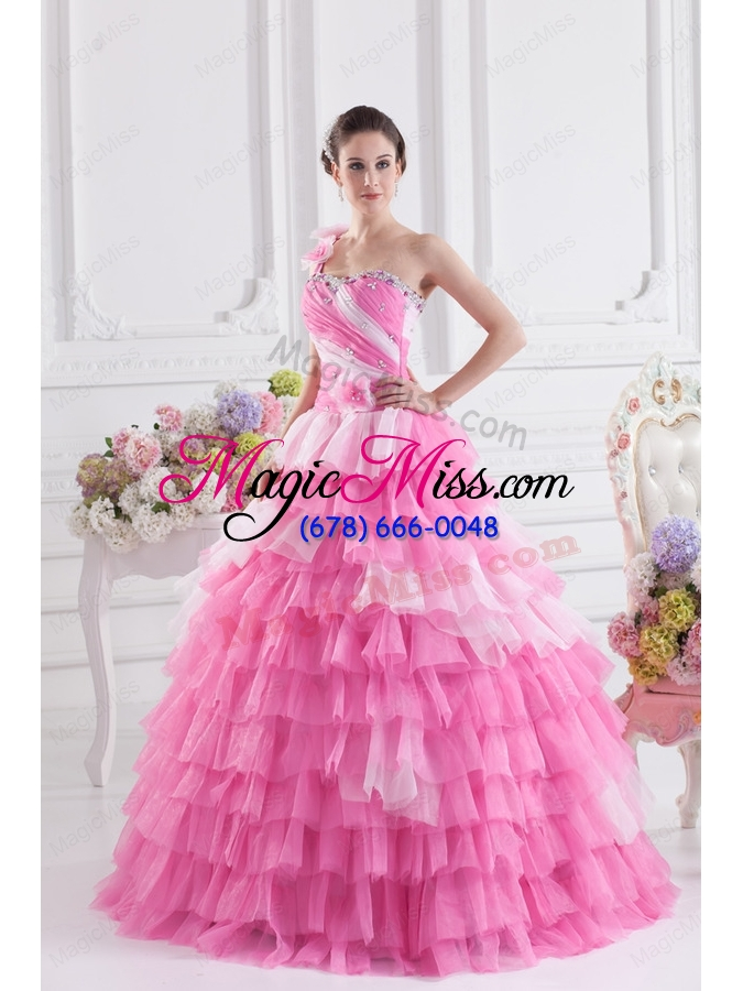 wholesale rose pink one shoulder beading quinceanera dress with ruffled layers