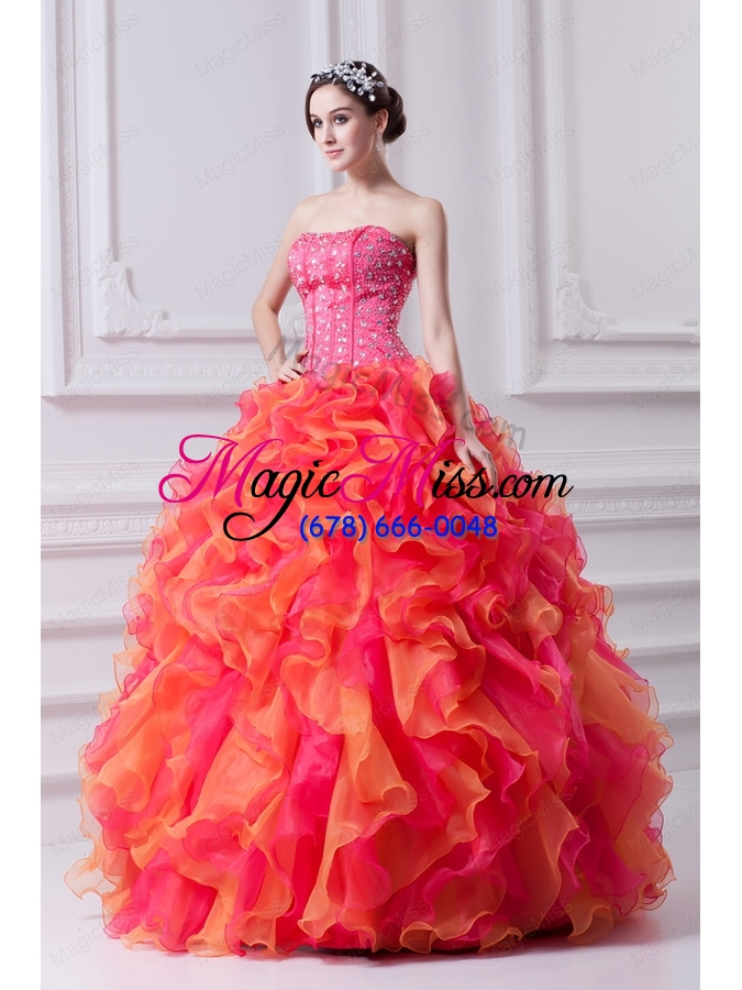 wholesale spring puffy multi-color strapless beading 2015 quinceanera dress with ruffles
