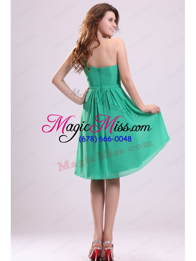 wholesale turquoise a line one shoulder bridesmaid dress with bowknot and ruching