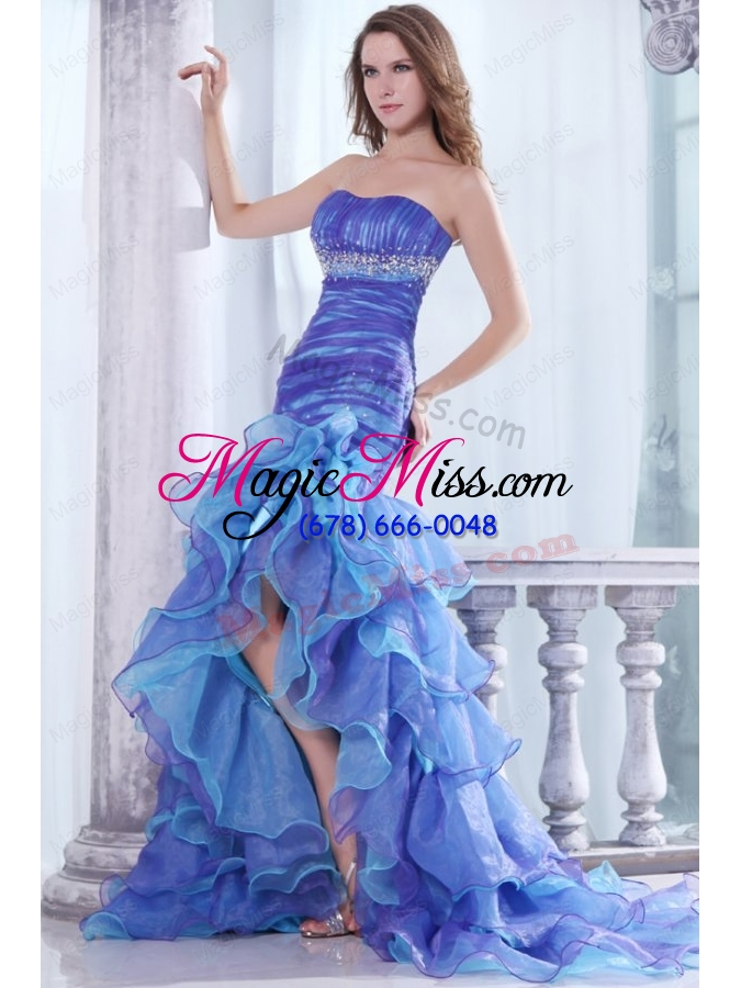 Strapless Beading and Ruffles Layered Mermaid Purple and Blue Prom ...