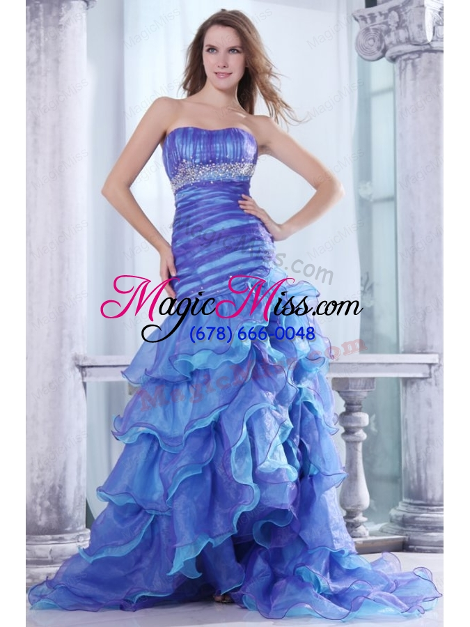 wholesale strapless beading and ruffles layered mermaid purple and blue prom dress