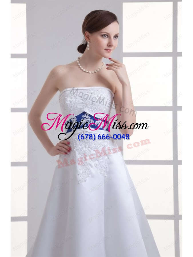 wholesale a-line appliques strapless satin belt court train wedding dress