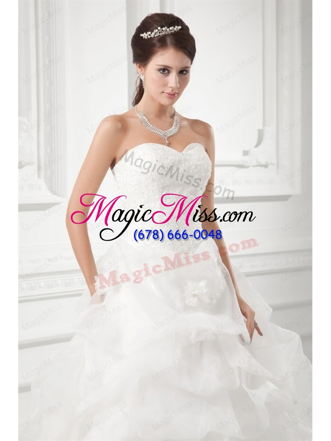 wholesale romantic sweetheart ball gown wedding dress with embroidery and pick-ups