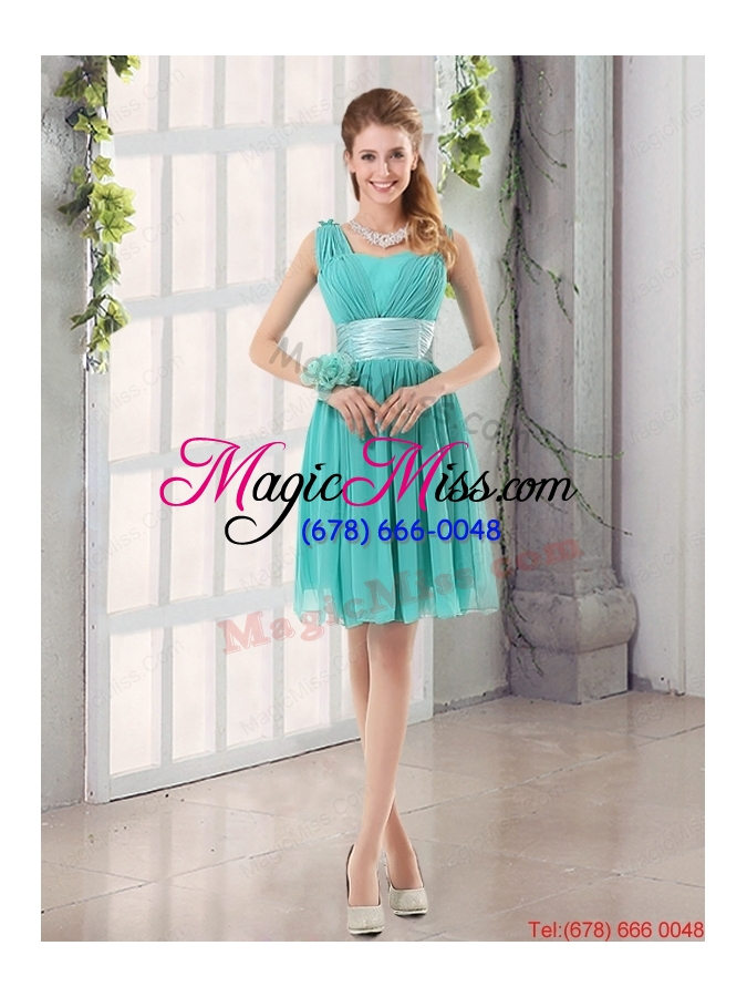 wholesale 2015 a line ruching lace up dama dress in aqua blue