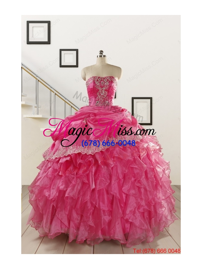 wholesale 2015 pretty appliques and ruffles quinceanera gowns in hot pink  ... 89288e2034d7