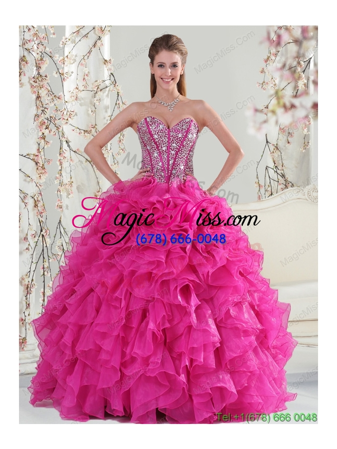 wholesale 2015 detachable fuchsia sweet 15 dresses with beading and ruffles