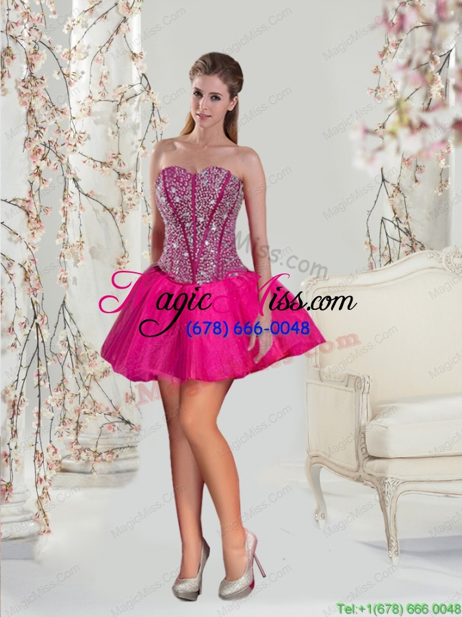 5dc5ada0cad ... wholesale 2015 detachable fuchsia sweet 15 dresses with beading and  ruffles ...