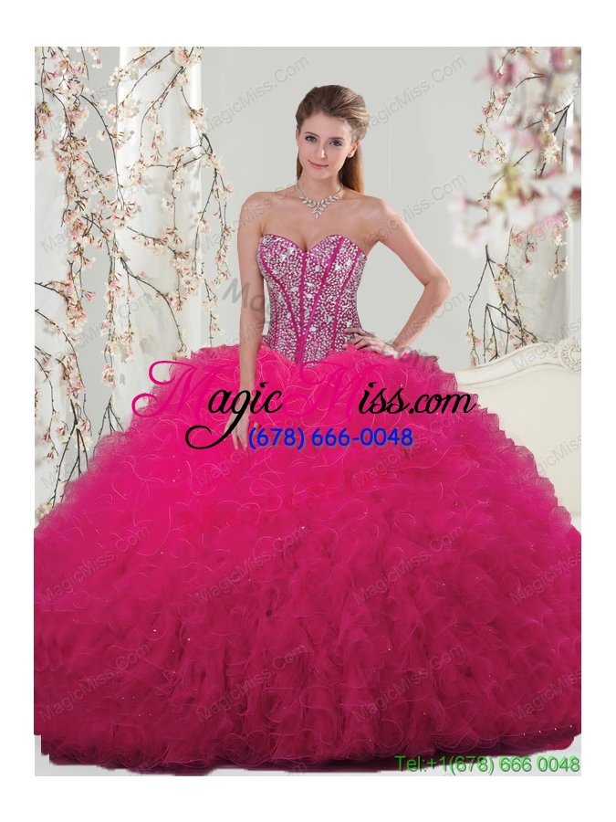 Unique Hot Pink Sweet 15 Dresses with Beading and Ruffles for 2015 ...