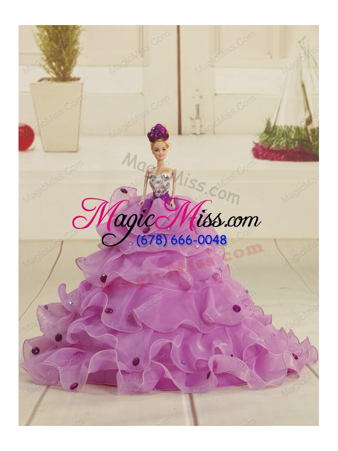 wholesale 2015 pretty sweetheart purple quinceanera dresses with beading and ruffles