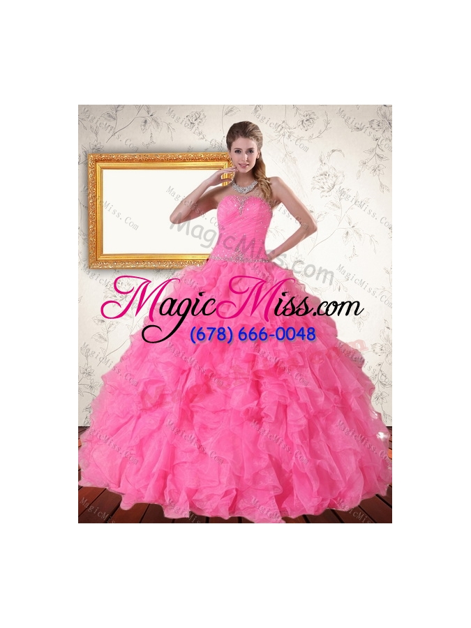 wholesale 2015 fashionable strapless floor length quinceanera dress with beading and ruffles